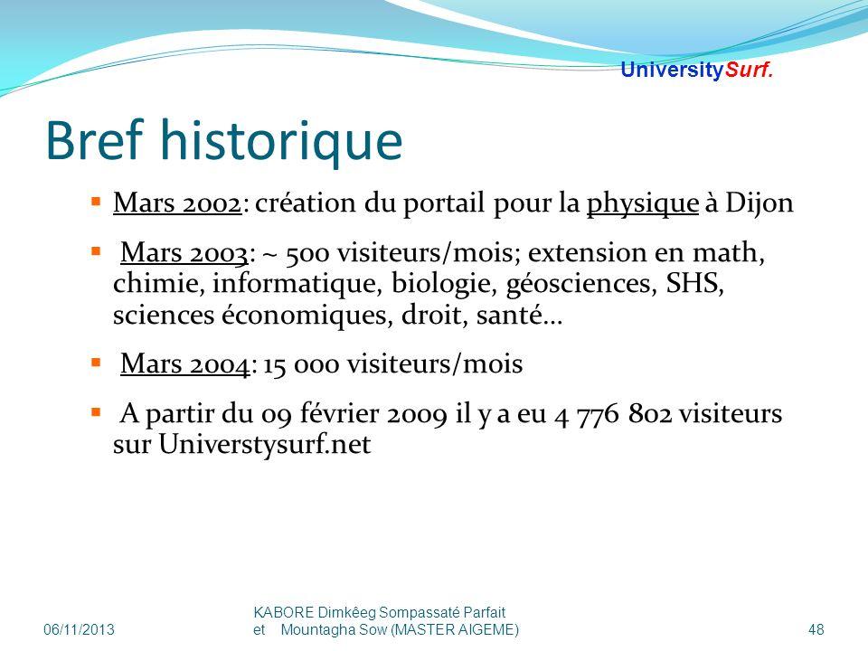 Bref historique Mars 2002: création du portail pour la physique à Dijon Mars 2003: ~ 500 visiteurs/mois; extension en math, chimie, informatique, biol