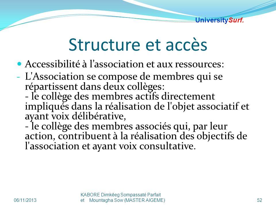 Structure et accès Accessibilité à lassociation et aux ressources: - L'Association se compose de membres qui se répartissent dans deux collèges: - le