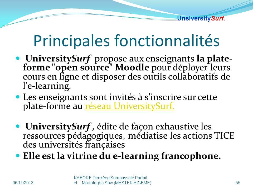 Principales fonctionnalités UniversitySurf propose aux enseignants la plate- forme