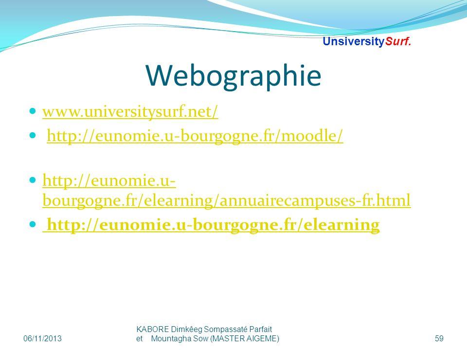 Webographie www.universitysurf.net/ http://eunomie.u-bourgogne.fr/moodle/ http://eunomie.u- bourgogne.fr/elearning/annuairecampuses-fr.html http://eun