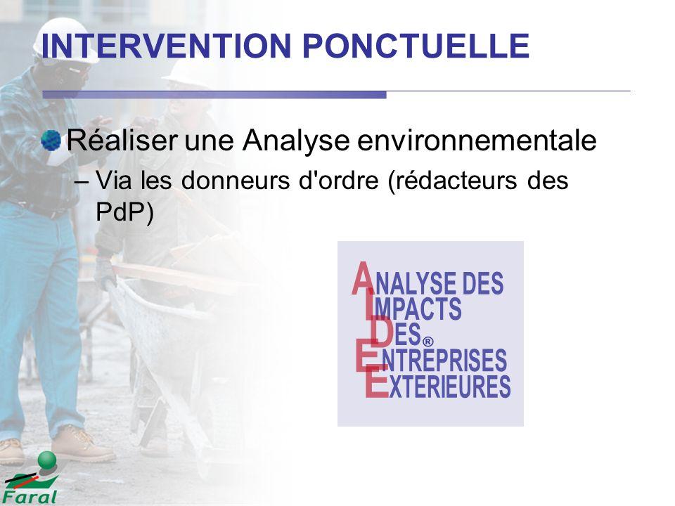 INTERVENTION PONCTUELLE Réaliser une Analyse environnementale –Via les donneurs d'ordre (rédacteurs des PdP)