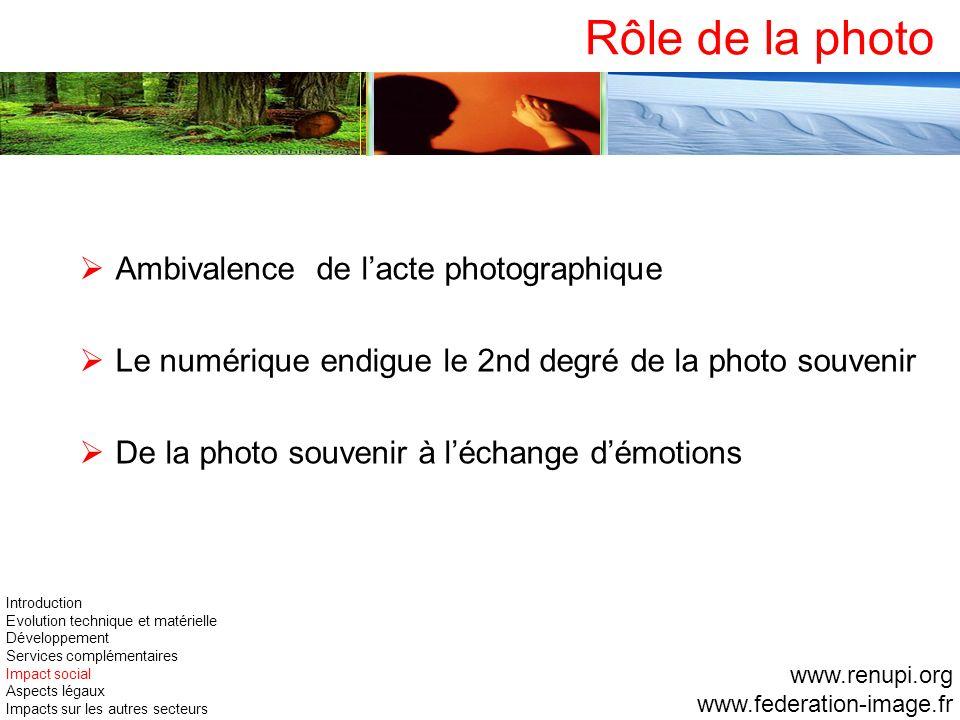 Rôle de la photo Ambivalence de lacte photographique Le numérique endigue le 2nd degré de la photo souvenir De la photo souvenir à léchange démotions