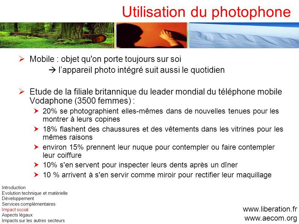 Utilisation du photophone Mobile : objet qu'on porte toujours sur soi lappareil photo intégré suit aussi le quotidien Etude de la filiale britannique