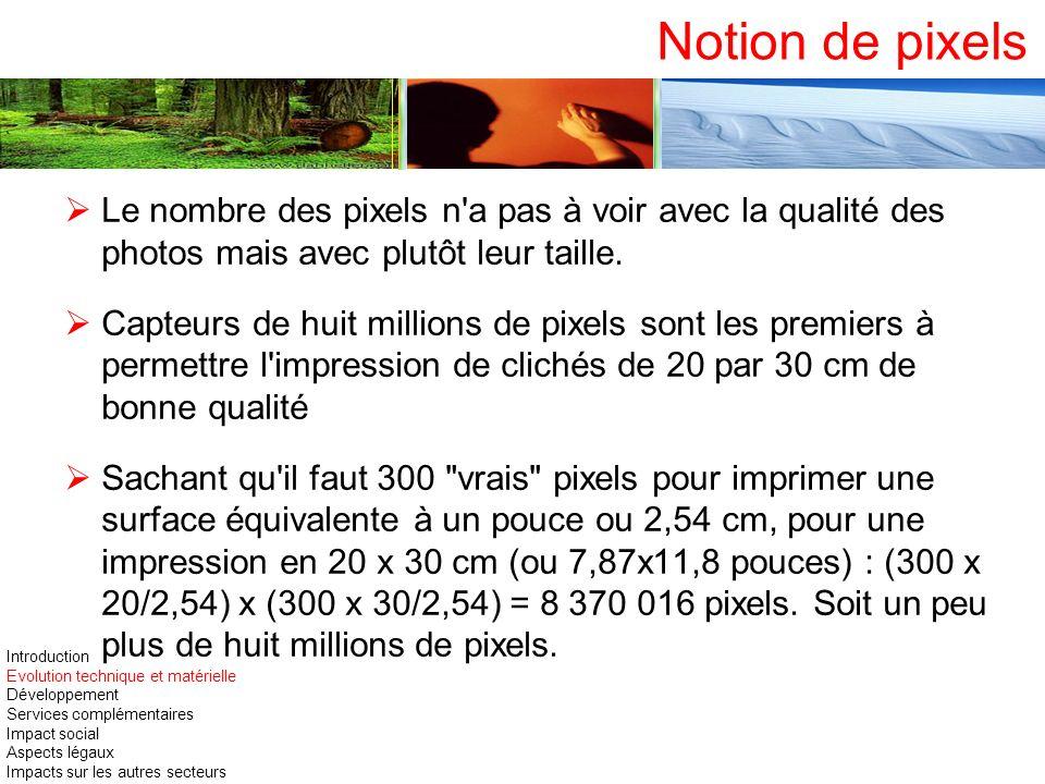 Notion de pixels Le nombre des pixels n'a pas à voir avec la qualité des photos mais avec plutôt leur taille. Capteurs de huit millions de pixels sont