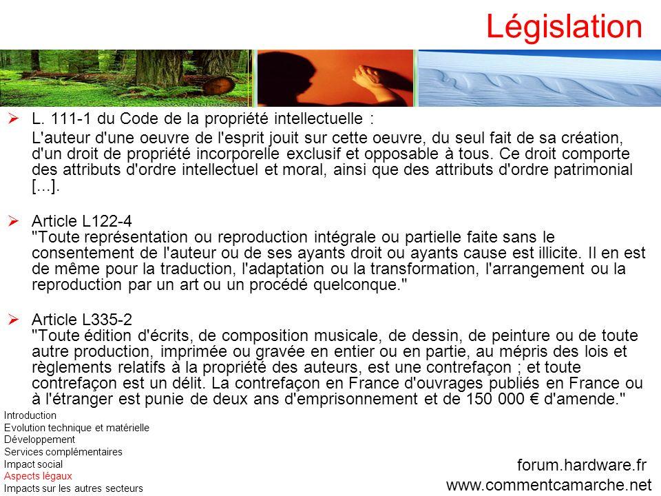 Législation L. 111-1 du Code de la propriété intellectuelle : L'auteur d'une oeuvre de l'esprit jouit sur cette oeuvre, du seul fait de sa création, d