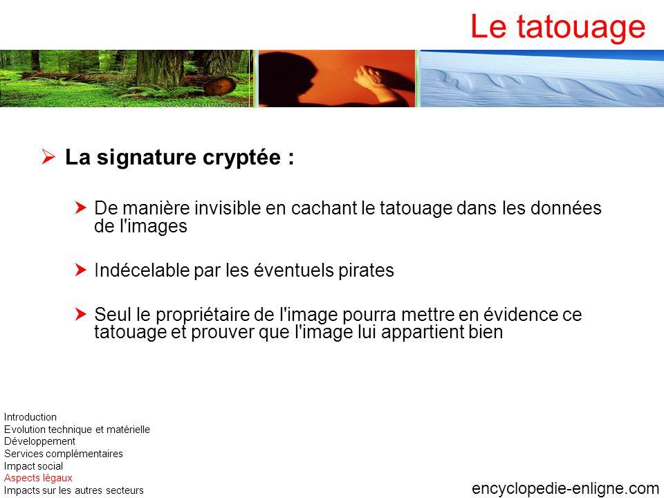 Le tatouage La signature cryptée : De manière invisible en cachant le tatouage dans les données de l'images Indécelable par les éventuels pirates Seul