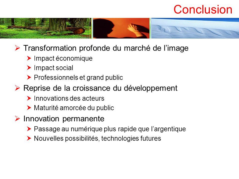 Conclusion Transformation profonde du marché de limage Impact économique Impact social Professionnels et grand public Reprise de la croissance du déve