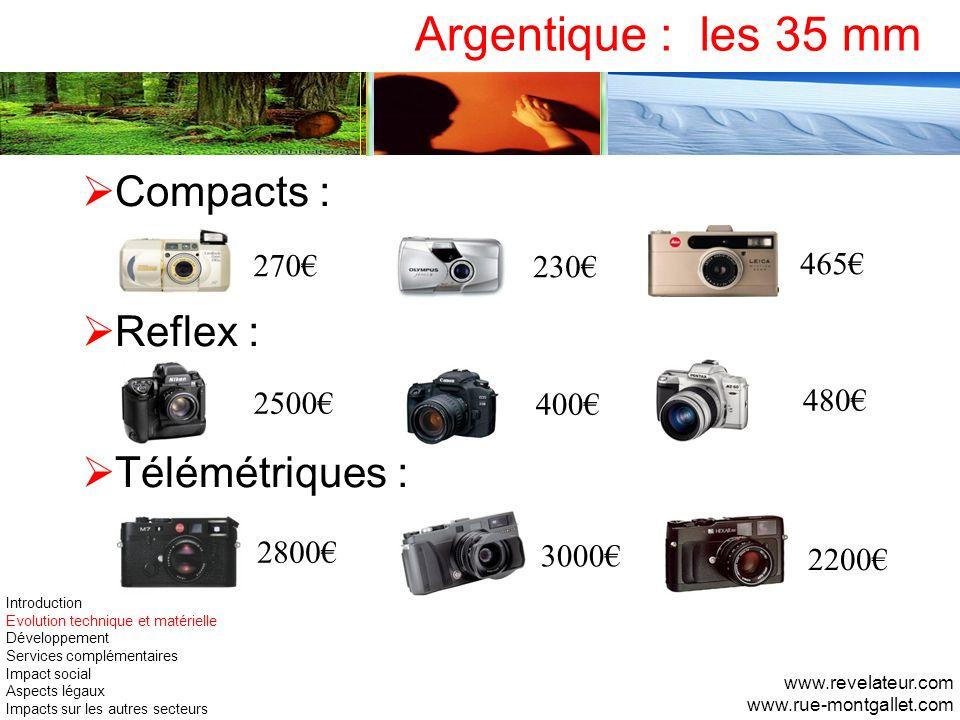 Argentique : les 35 mm Compacts : Reflex : Télémétriques : 270 230 465 2500 400 480 2800 3000 2200 www.revelateur.com www.rue-montgallet.com Introduct