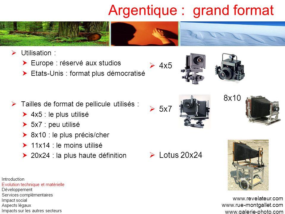 Utilisation : Europe : réservé aux studios Etats-Unis : format plus démocratisé Tailles de format de pellicule utilisés : 4x5 : le plus utilisé 5x7 :