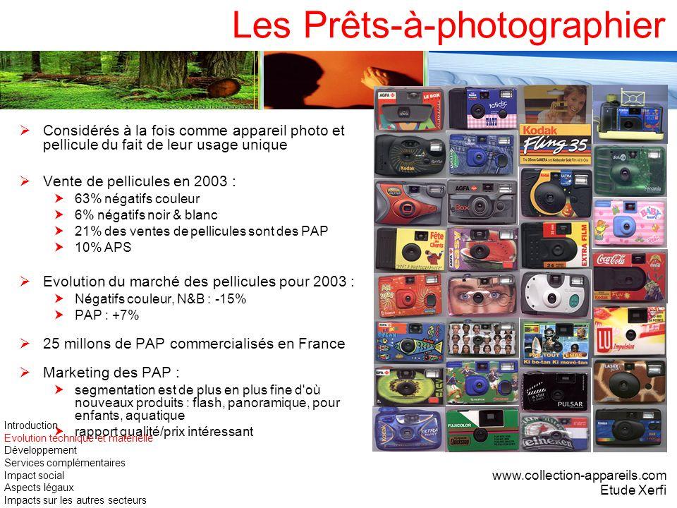 Les Prêts-à-photographier Considérés à la fois comme appareil photo et pellicule du fait de leur usage unique Vente de pellicules en 2003 : 63% négati