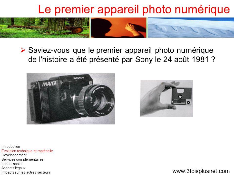 Le premier appareil photo numérique Saviez-vous que le premier appareil photo numérique de l'histoire a été présenté par Sony le 24 août 1981 ? www.3f