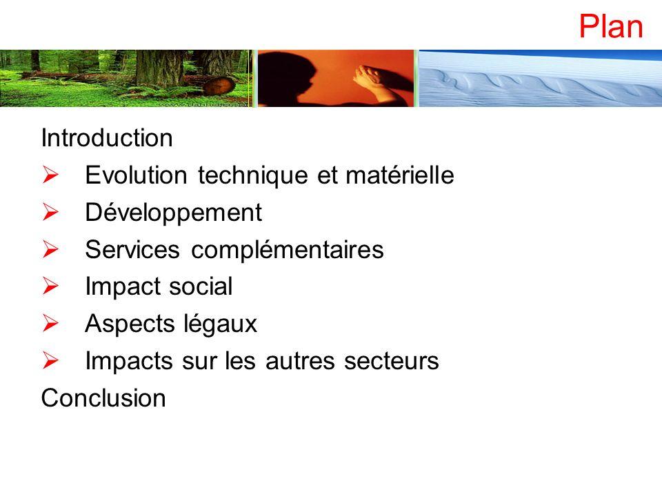 Plan Introduction Evolution technique et matérielle Développement Services complémentaires Impact social Aspects légaux Impacts sur les autres secteur
