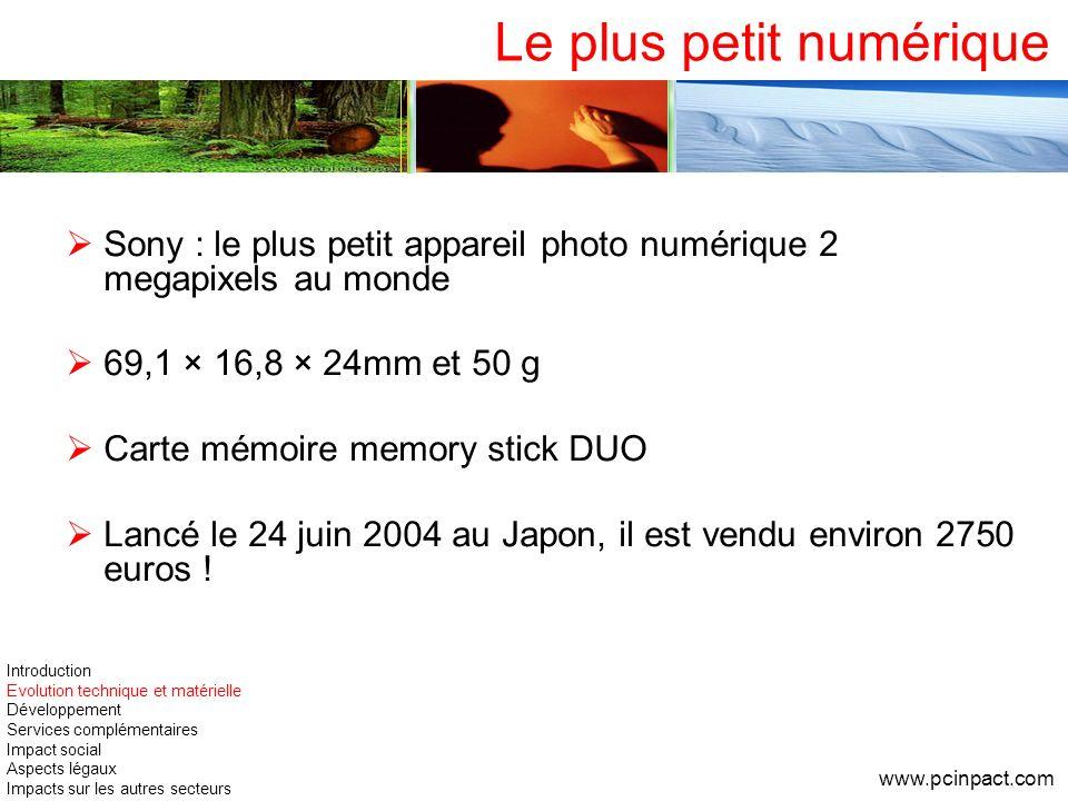 Le plus petit numérique Sony : le plus petit appareil photo numérique 2 megapixels au monde 69,1 × 16,8 × 24mm et 50 g Carte mémoire memory stick DUO
