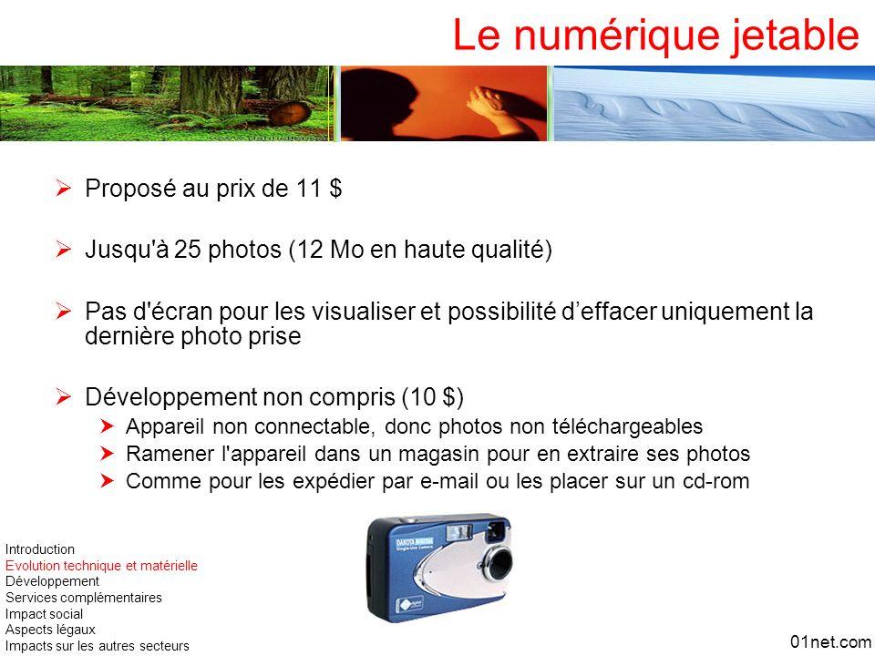 Le numérique jetable Proposé au prix de 11 $ Jusqu'à 25 photos (12 Mo en haute qualité) Pas d'écran pour les visualiser et possibilité deffacer unique