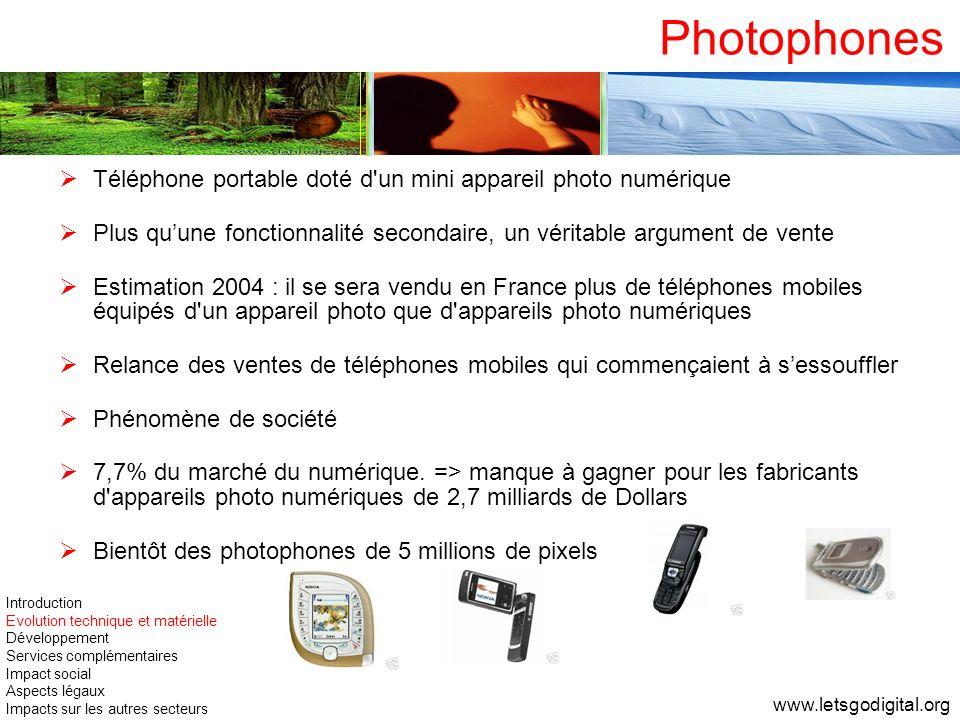 Photophones Téléphone portable doté d'un mini appareil photo numérique Plus quune fonctionnalité secondaire, un véritable argument de vente Estimation
