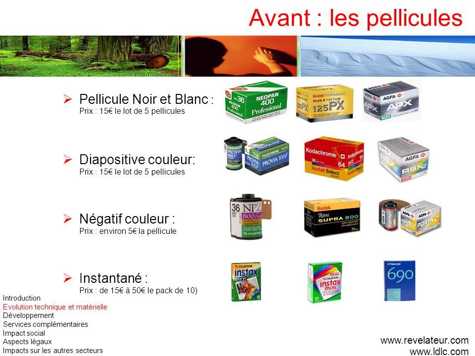 Avant : les pellicules Pellicule Noir et Blanc : Prix : 15 le lot de 5 pellicules Diapositive couleur: Prix : 15 le lot de 5 pellicules Négatif couleu