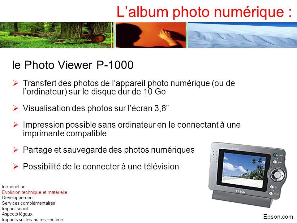 Lalbum photo numérique : le Photo Viewer P-1000 Transfert des photos de lappareil photo numérique (ou de lordinateur) sur le disque dur de 10 Go Visua