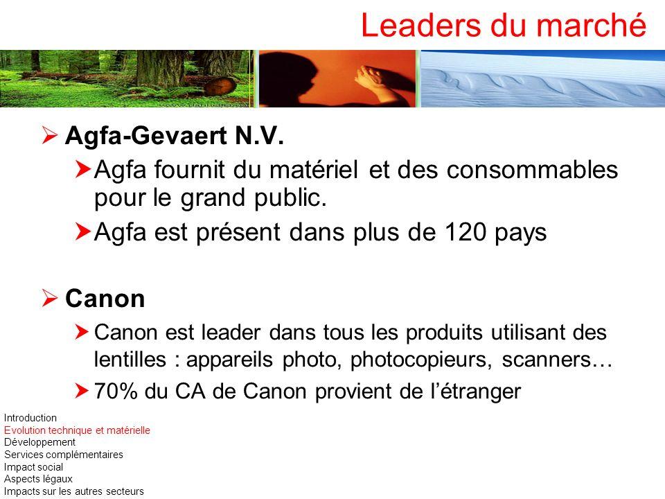 Leaders du marché Agfa-Gevaert N.V. Agfa fournit du matériel et des consommables pour le grand public. Agfa est présent dans plus de 120 pays Canon Ca