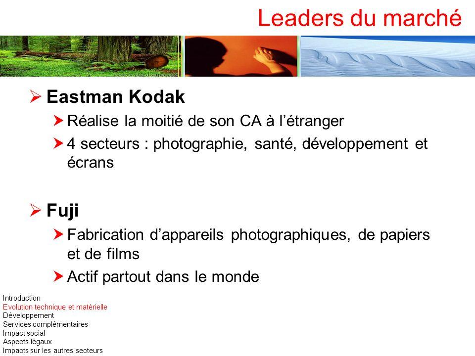 Leaders du marché Eastman Kodak Réalise la moitié de son CA à létranger 4 secteurs : photographie, santé, développement et écrans Fuji Fabrication dap