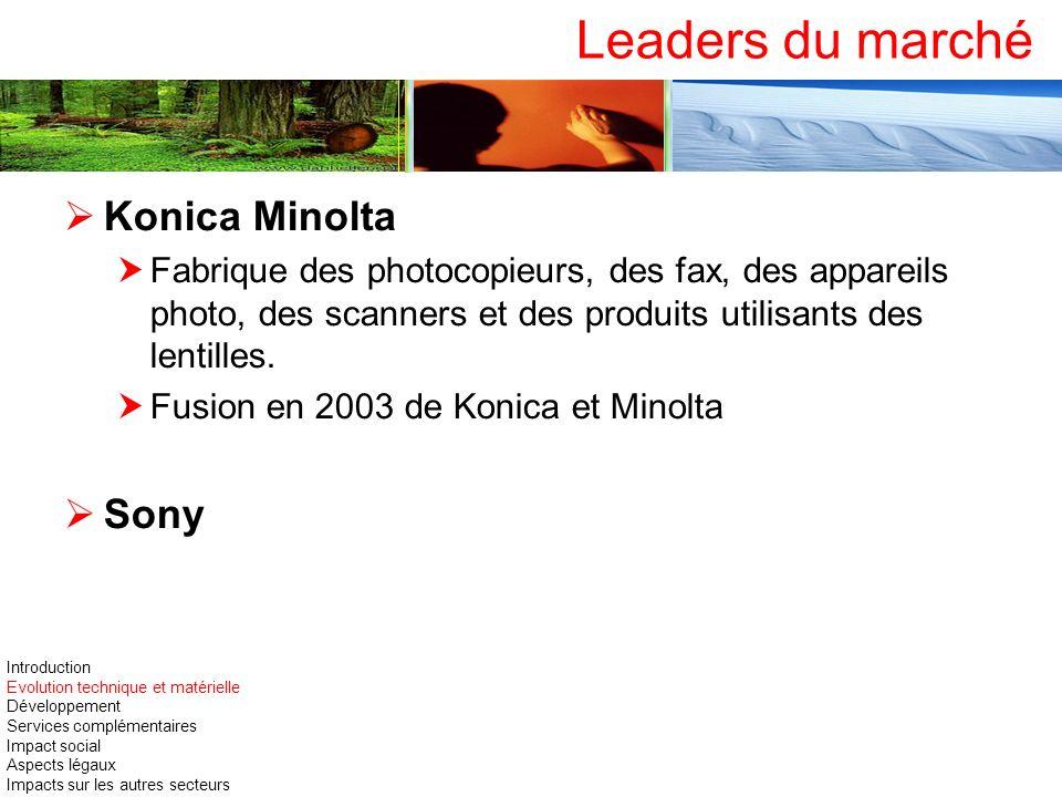 Leaders du marché Konica Minolta Fabrique des photocopieurs, des fax, des appareils photo, des scanners et des produits utilisants des lentilles. Fusi
