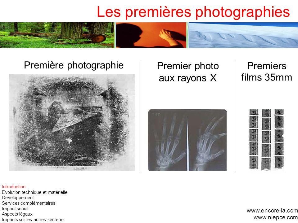 Les premières photographies www.encore-la.com www.niepce.com Première photographie Premier photo aux rayons X Premiers films 35mm Introduction Evoluti
