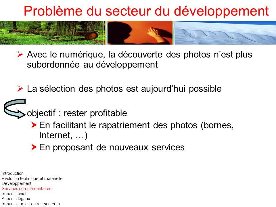 Problème du secteur du développement Avec le numérique, la découverte des photos nest plus subordonnée au développement La sélection des photos est au