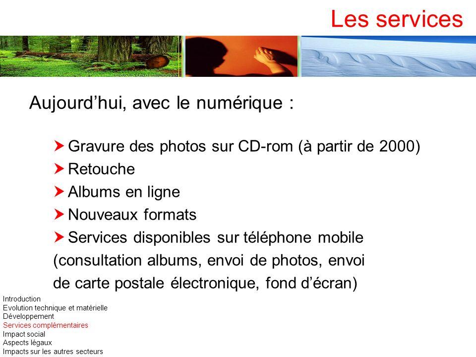 Aujourdhui, avec le numérique : Gravure des photos sur CD-rom (à partir de 2000) Retouche Albums en ligne Nouveaux formats Services disponibles sur té
