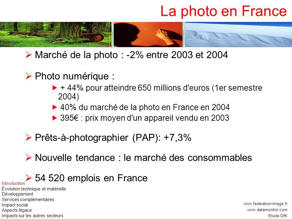 La photo en France Marché de la photo : -2% entre 2003 et 2004 Photo numérique : + 44% pour atteindre 650 millions d'euros (1er semestre 2004) 40% du