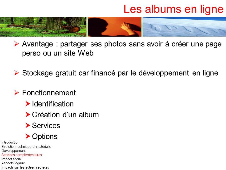 Les albums en ligne Avantage : partager ses photos sans avoir à créer une page perso ou un site Web Stockage gratuit car financé par le développement