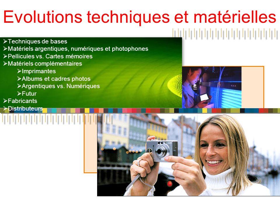 Evolutions techniques et matérielles Techniques de bases Matériels argentiques, numériques et photophones Pellicules vs. Cartes mémoires Matériels com