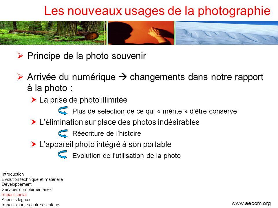 Les nouveaux usages de la photographie Principe de la photo souvenir Arrivée du numérique changements dans notre rapport à la photo : La prise de phot