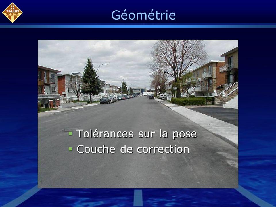 Géométrie Tolérances sur la pose Tolérances sur la pose Couche de correction Couche de correction