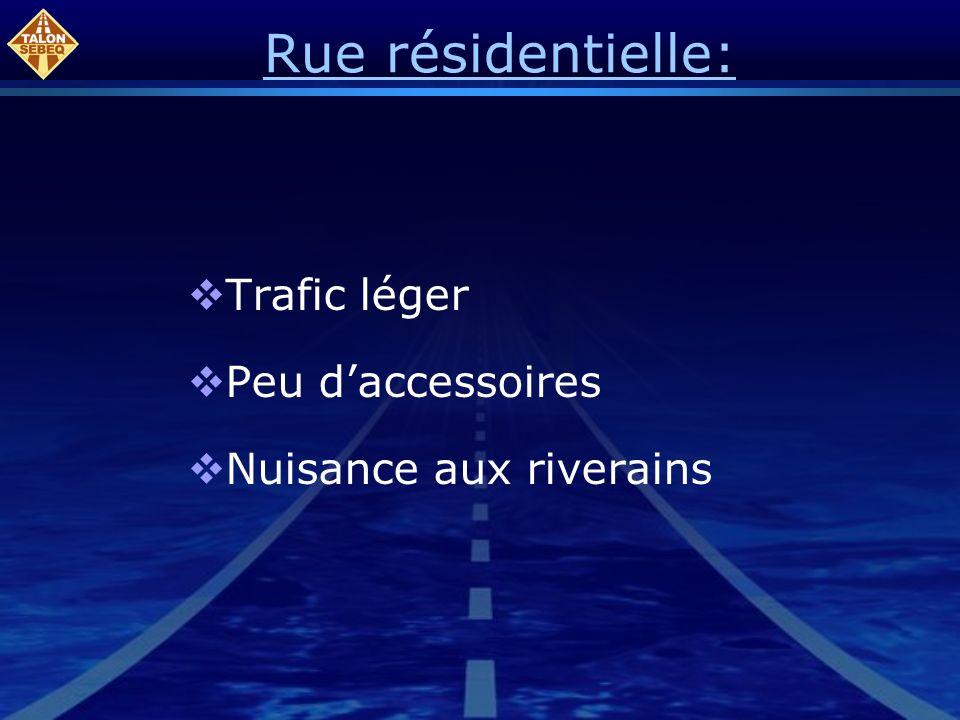 Rue résidentielle: Trafic léger Peu daccessoires Nuisance aux riverains