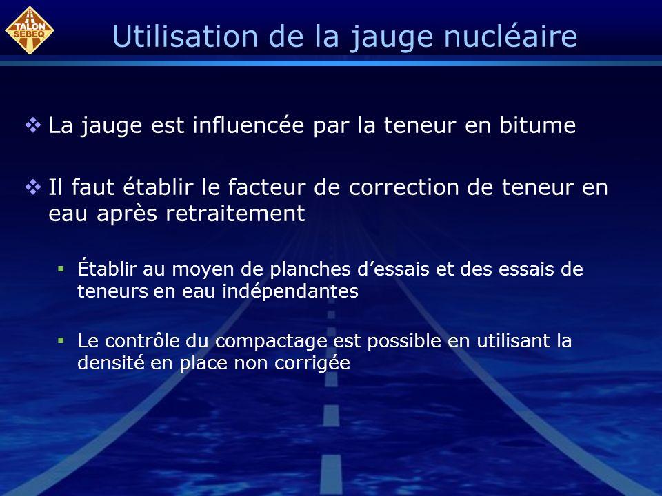 Utilisation de la jauge nucléaire La jauge est influencée par la teneur en bitume Il faut établir le facteur de correction de teneur en eau après retr