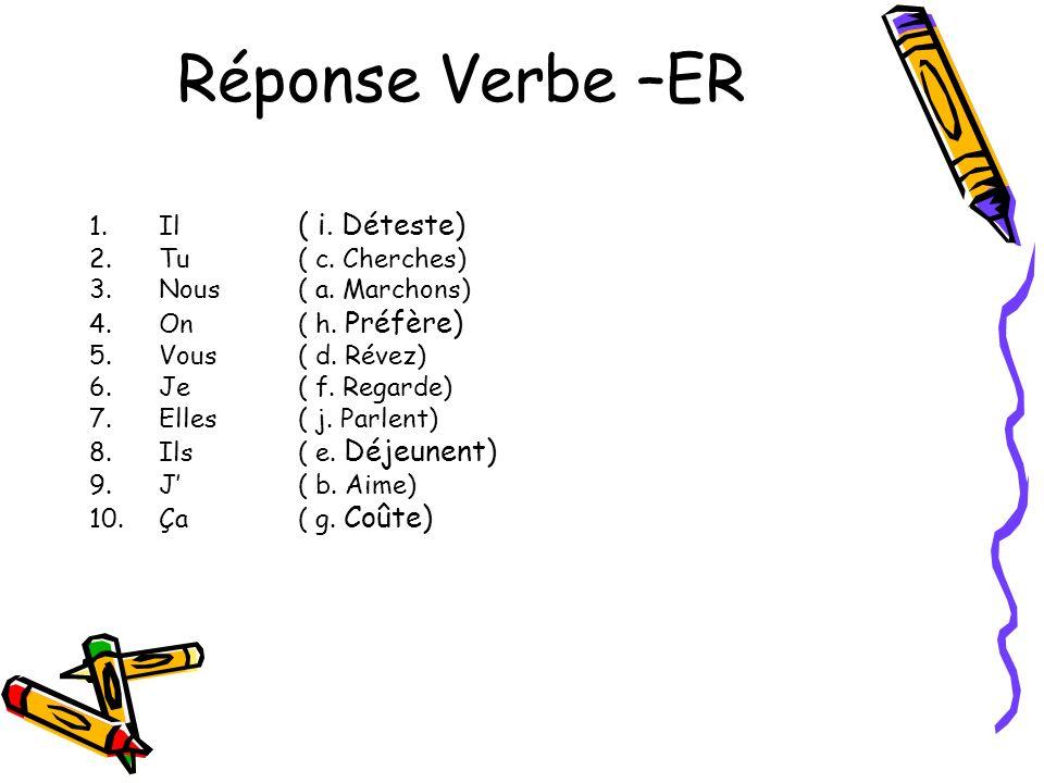 Réponse Verbe –ER 1.Il ( i. Déteste) 2.Tu( c. Cherches) 3.Nous( a. Marchons) 4.On( h. Préfère) 5.Vous( d. Révez) 6.Je( f. Regarde) 7.Elles( j. Parlent