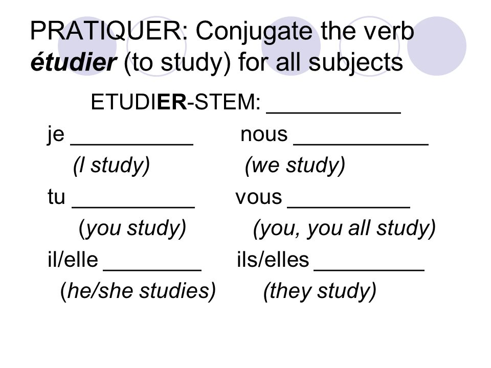 PRATIQUER: Conjugate the verb étudier (to study) for all subjects ETUDIER-STEM: ___________ je __________ nous ___________ (l study) (we study) tu __________ vous __________ (you study) (you, you all study) il/elle ________ ils/elles _________ (he/she studies) (they study)