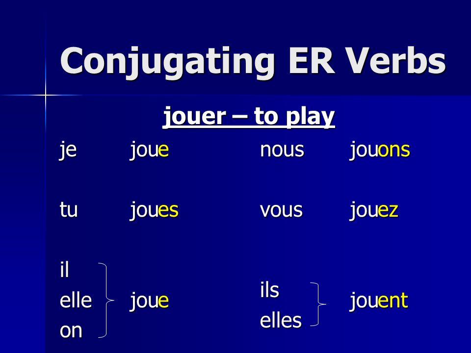 Conjugating ER Verbs jetuilelleonnousvousilselles jouer – to play joujoujoujoujoujoueeseonsezent
