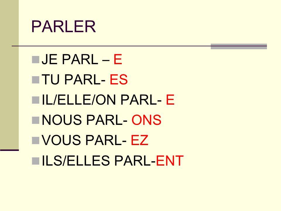 PARLER JE PARL – E TU PARL- ES IL/ELLE/ON PARL- E NOUS PARL- ONS VOUS PARL- EZ ILS/ELLES PARL-ENT