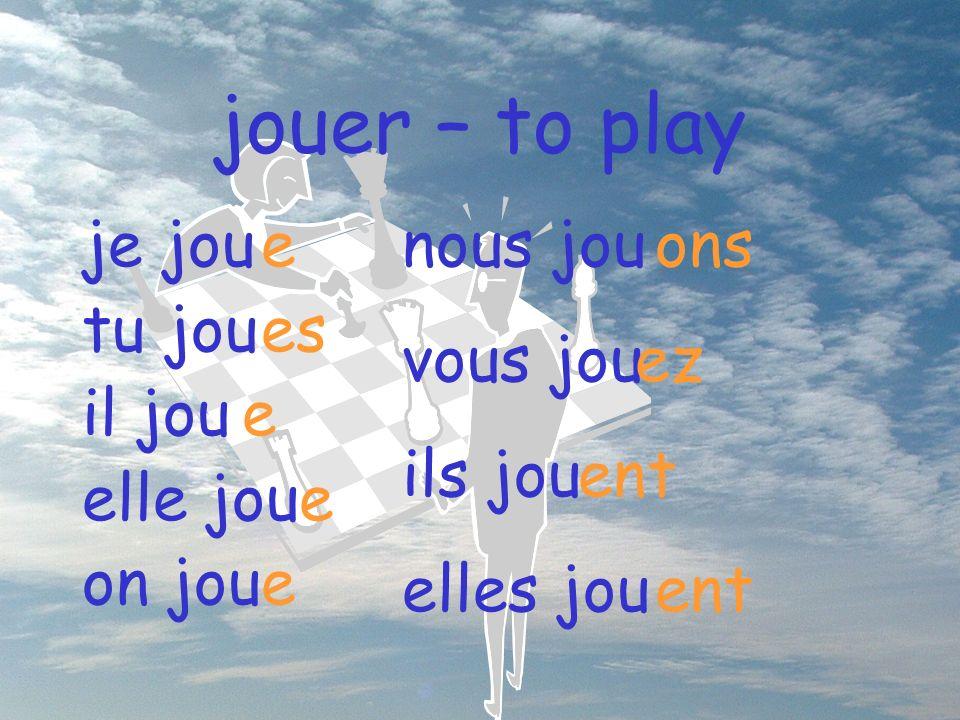 jouer – to play je jou tu jou il jou elle jou on jou e es e e e nous jou vous jou ils jou elles jou ons ez ent ent