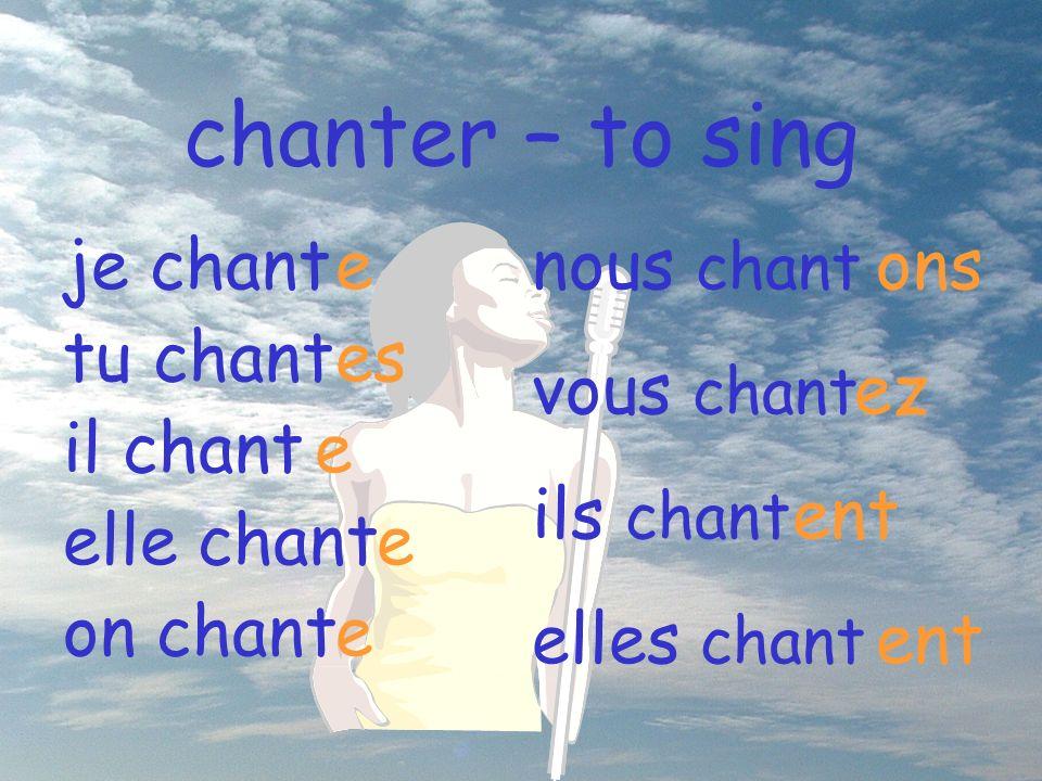 chanter – to sing je chant tu chant il chant elle chant on chant e es e e e nous chant vous chant ils chant elles chant ons ez ent ent