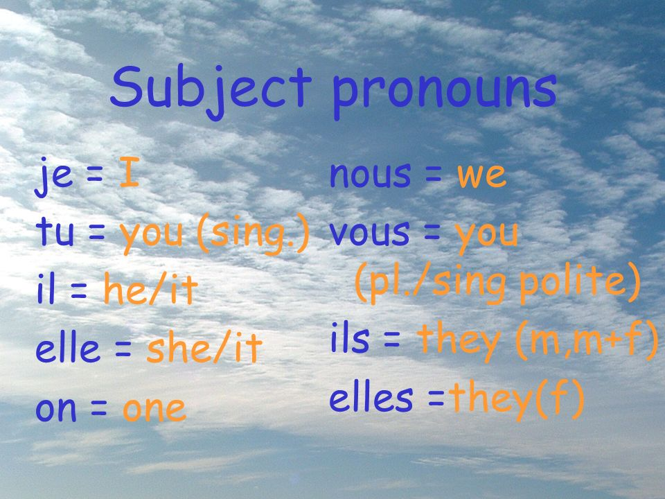 The stem In –er verbs the stem is formed by removing the –er. jou er