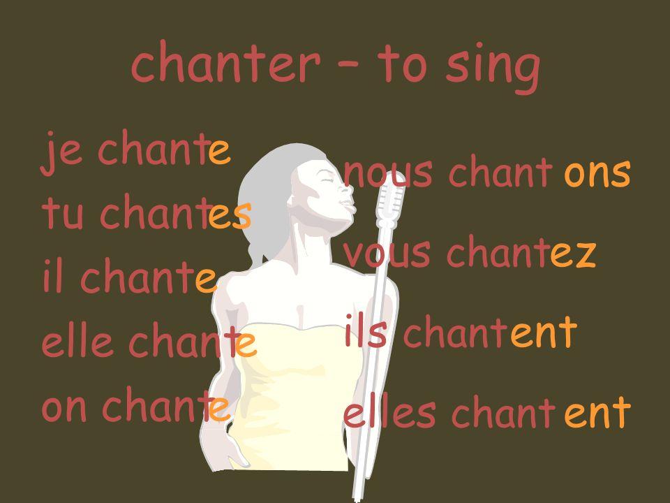 chanter – to sing je chant tu chant il chant elle chant on chant e es e nous chant vous chant ils chant elles chant ons ez ent ent