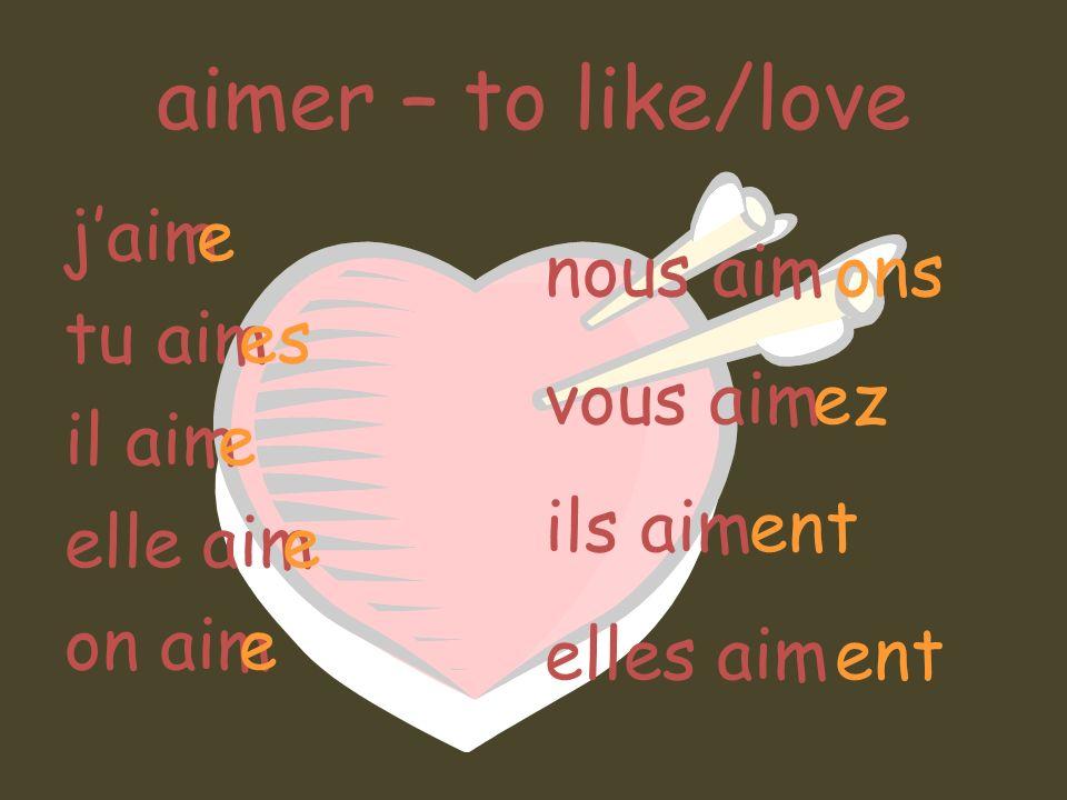 aimer – to like/love jaim tu aim il aim elle aim on aim e es e nous aim vous aim ils aim elles aim ons ez ent ent