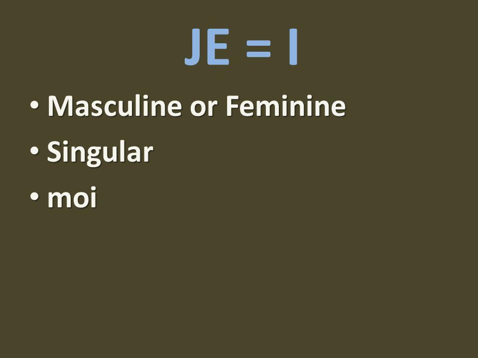 JE = I Masculine or Feminine Masculine or Feminine Singular Singular moi moi