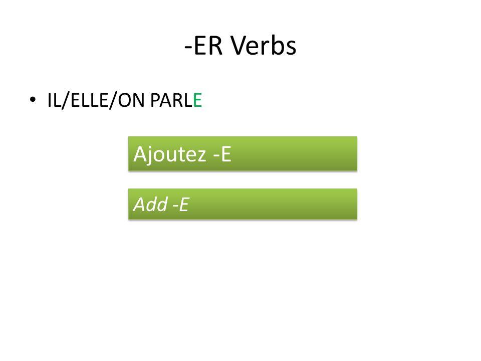 -ER Verbs IL/ELLE/ON PARLE Ajoutez -E Add -E