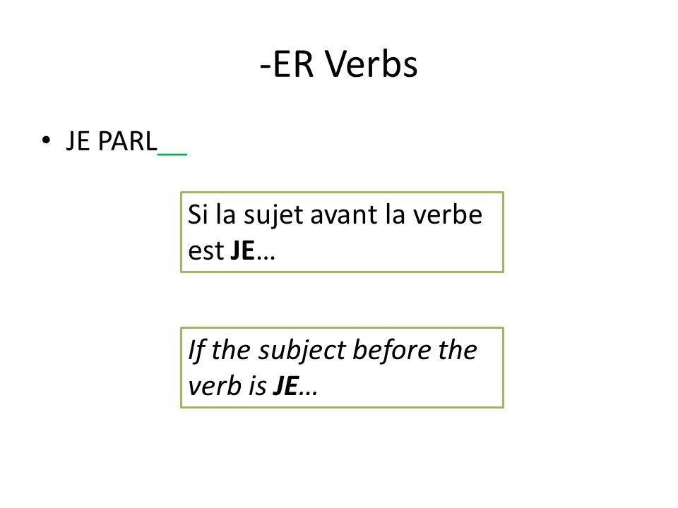-ER Verbs ILS/ELLES PARLENT Ajoutez -ENT Add –ENT