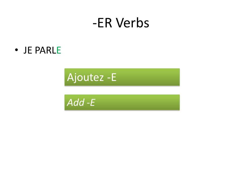 -ER Verbs TU PARL__ Si la sujet avant la verbe est TU… If the subject before the verb is TU…
