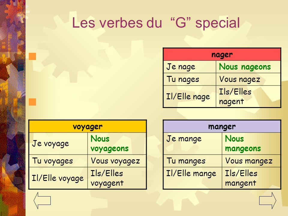 Les verbes du G special nager voyager manger