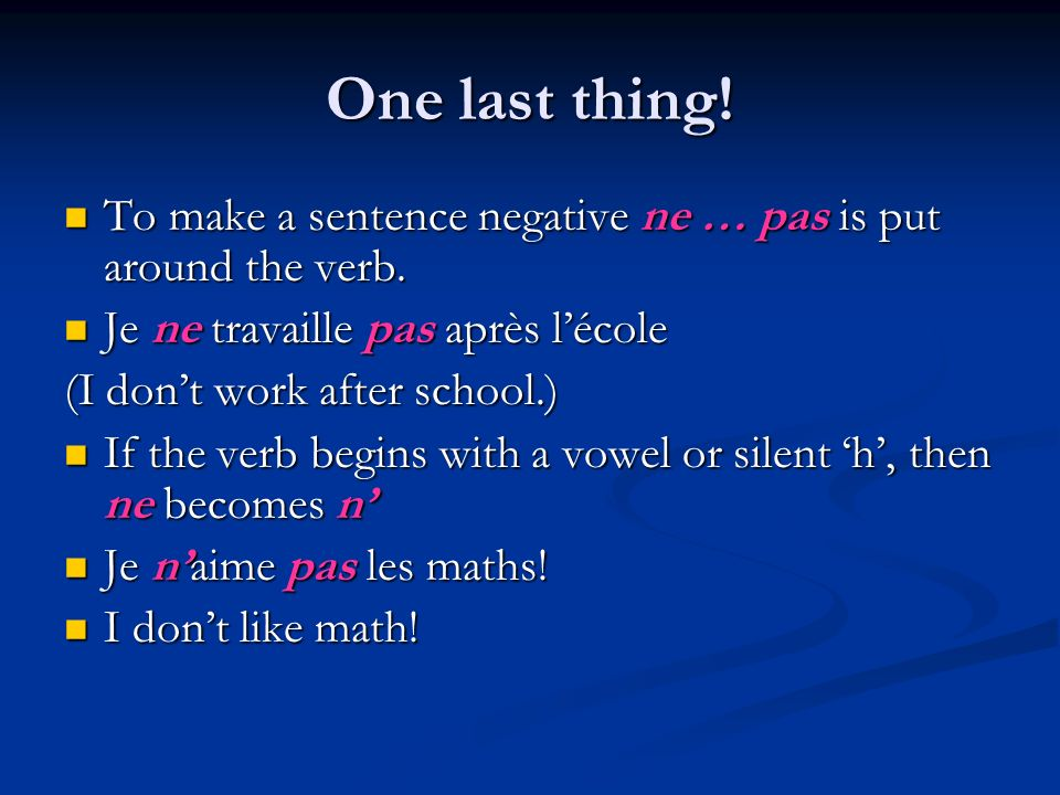 La fomrule: Stem + endings = conjugated verb Stem + endings = conjugated verb Stem = infinitive – ER *The infinitive is the form of the verb before it is conjugate, when it still has its « ending » on.
