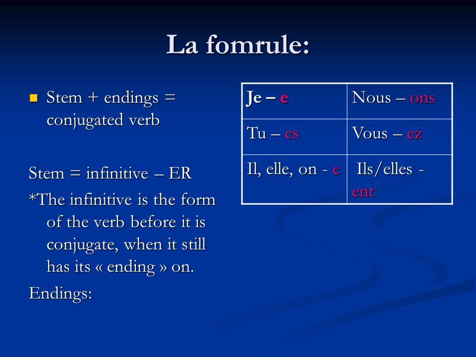 La fomrule: Stem + endings = conjugated verb Stem + endings = conjugated verb Stem = infinitive – ER *The infinitive is the form of the verb before it